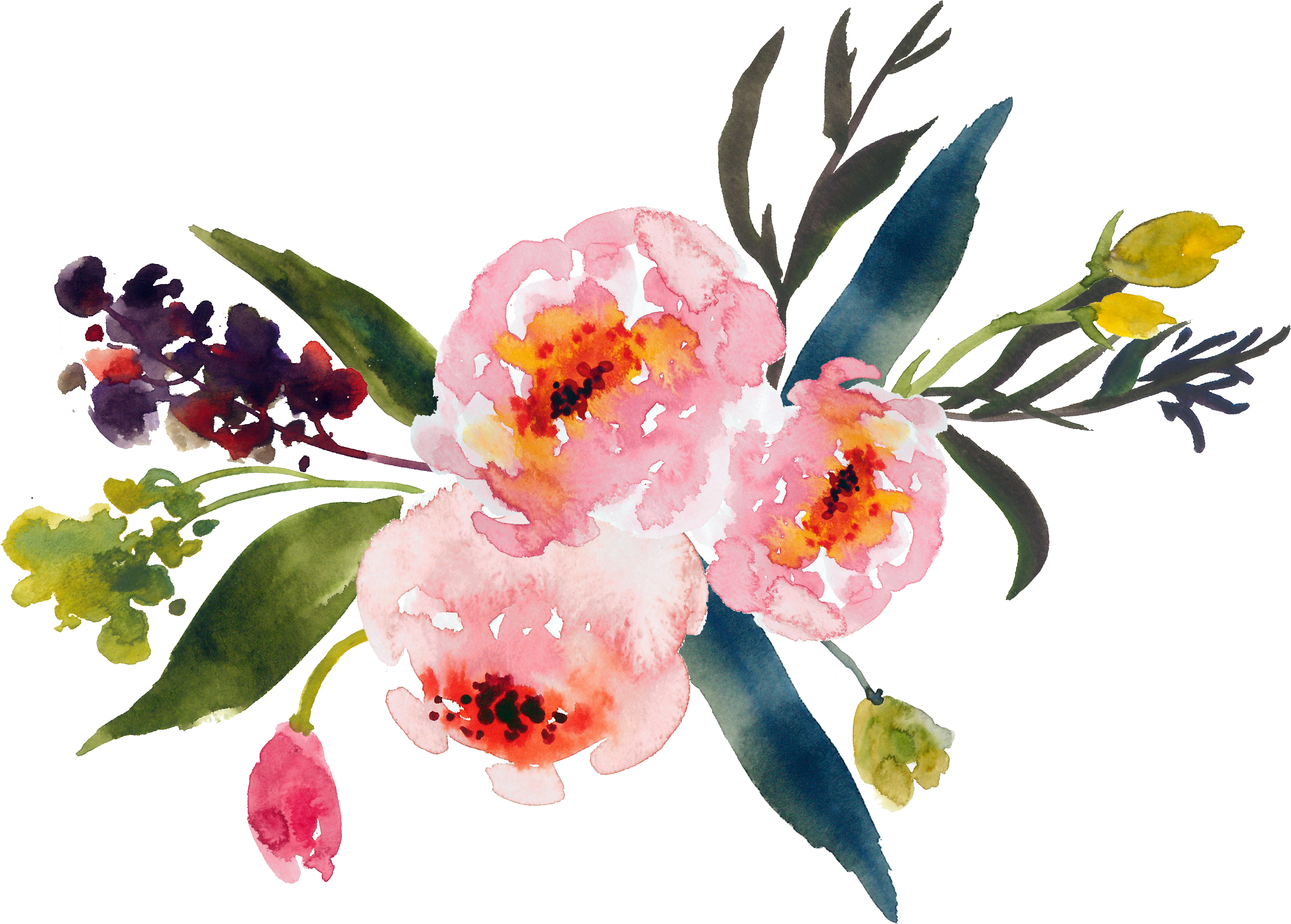 Flower bouquet painting clip. Mango clipart watercolor
