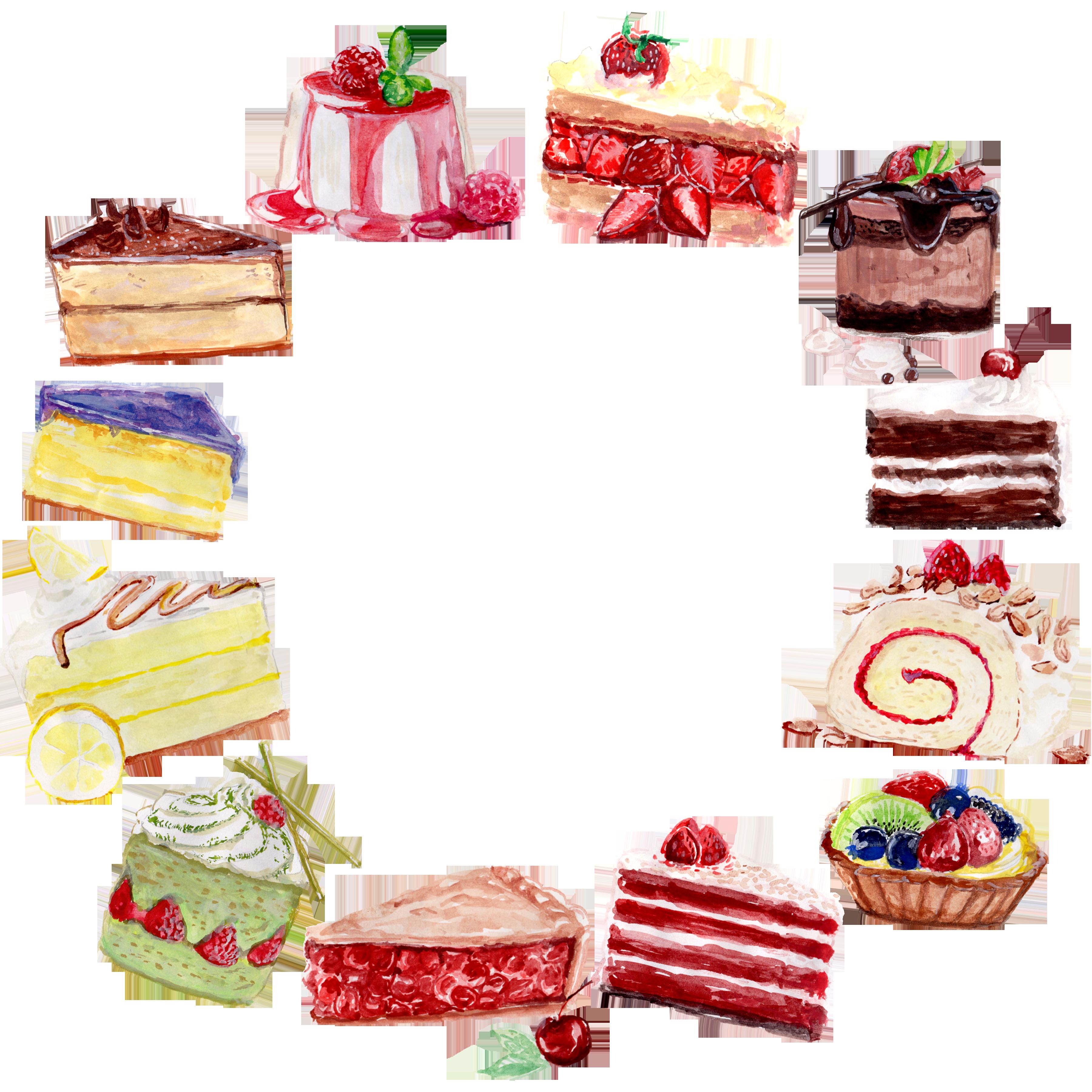 desserts clipart watercolor