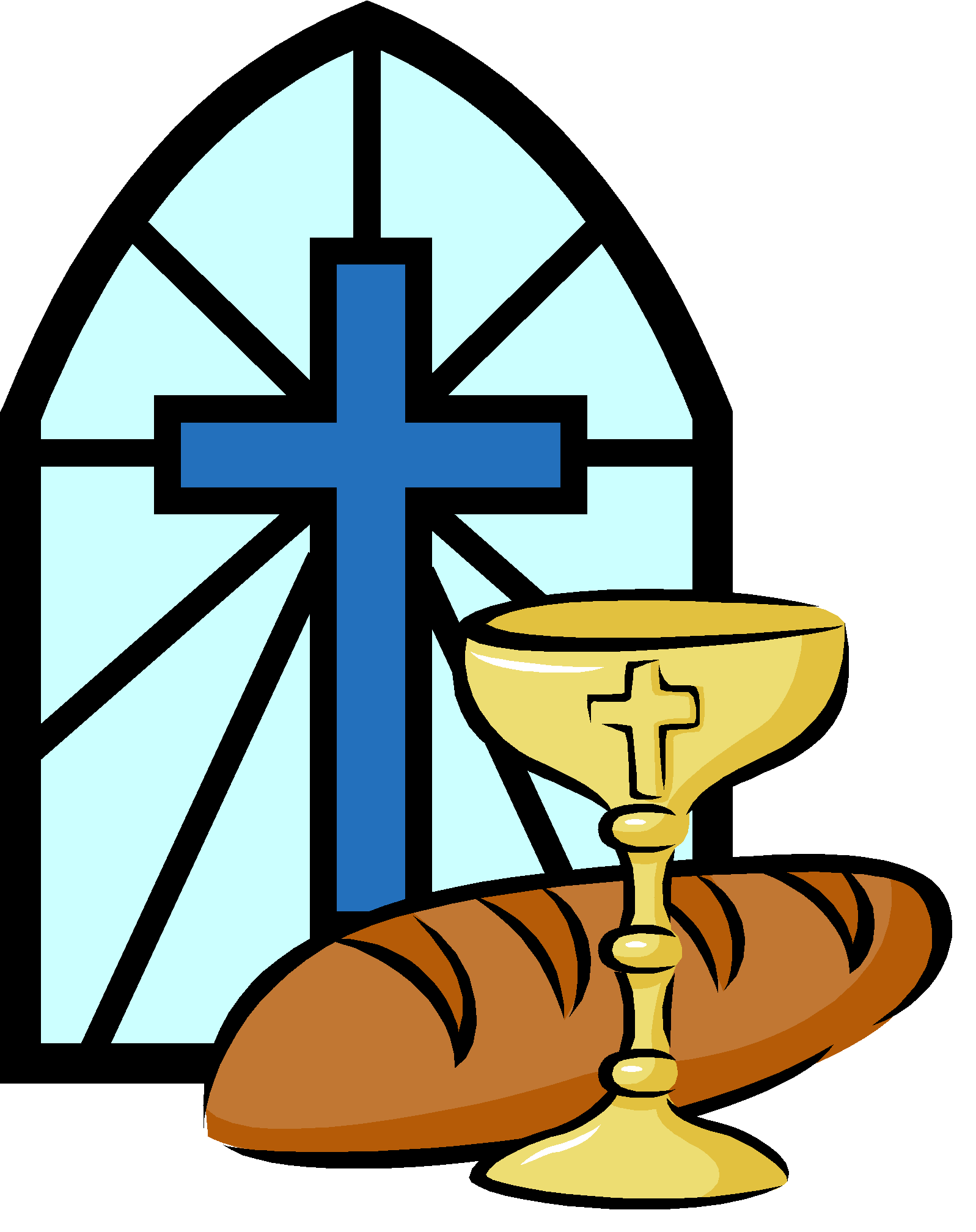 Holy bread and wine. Clipart cross first communion