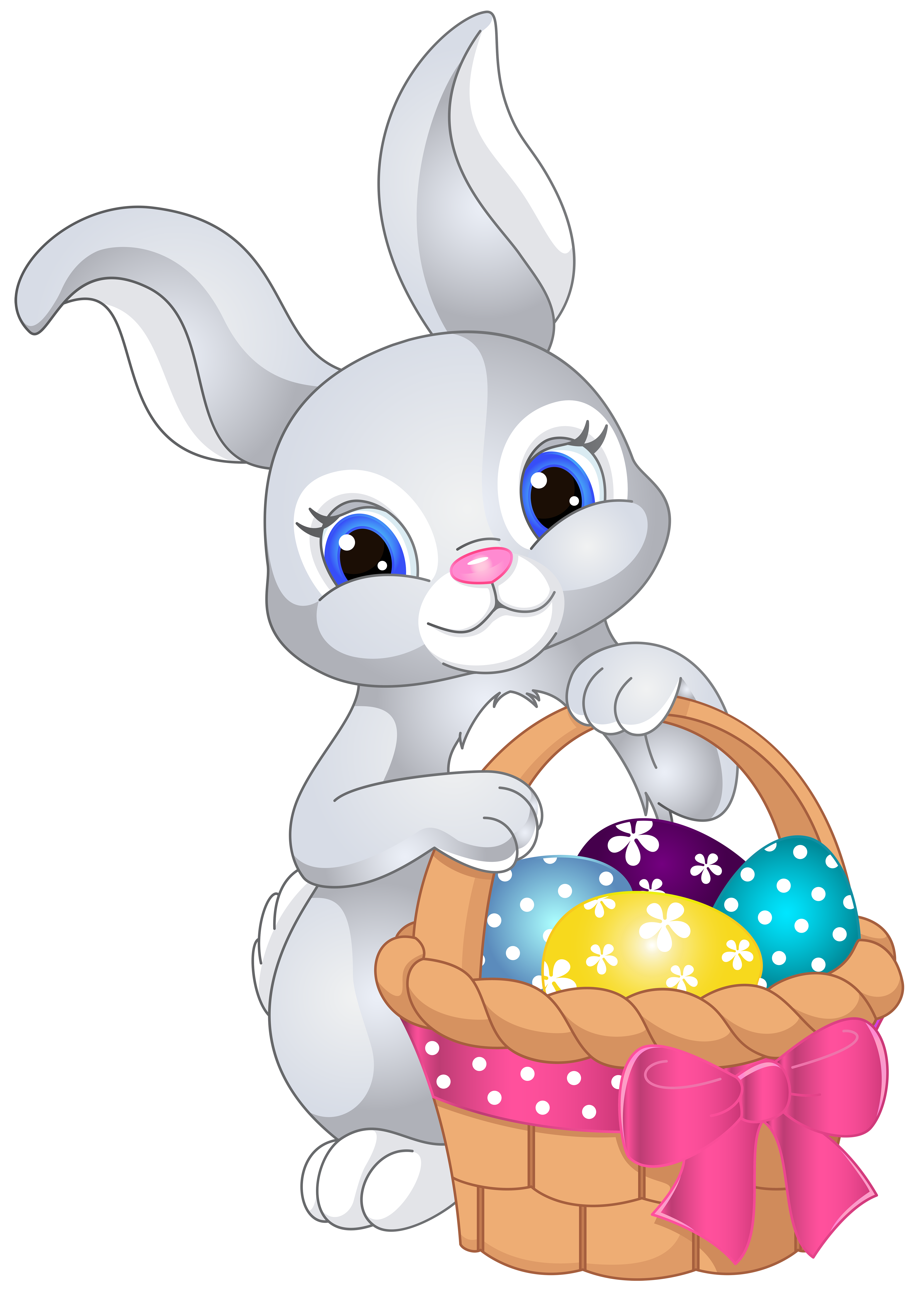 Easter with egg basket. Clipart bunny