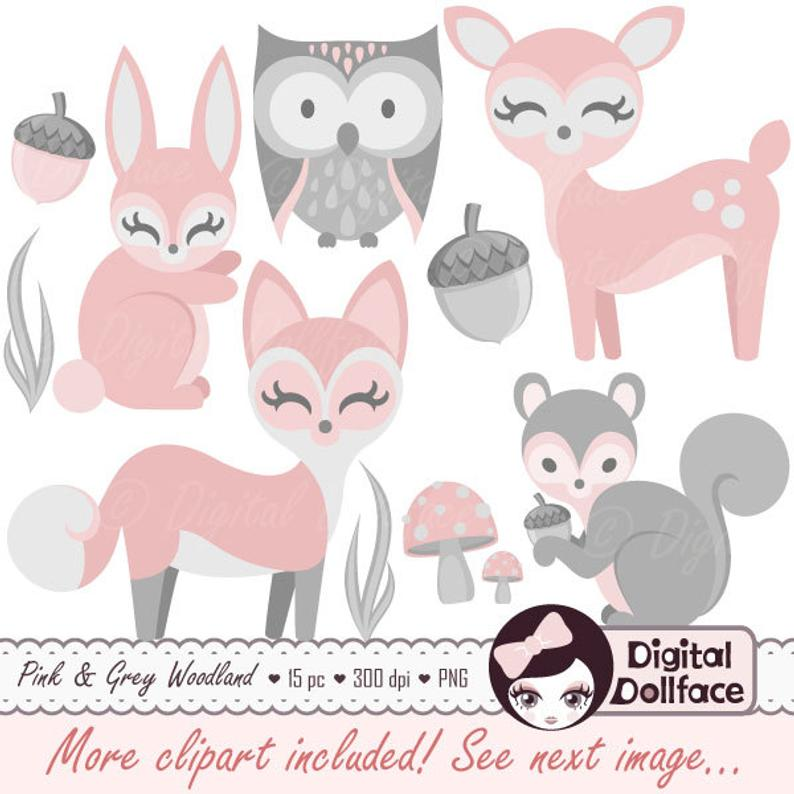 Woodland clipart baby girl. Animal clip art pink
