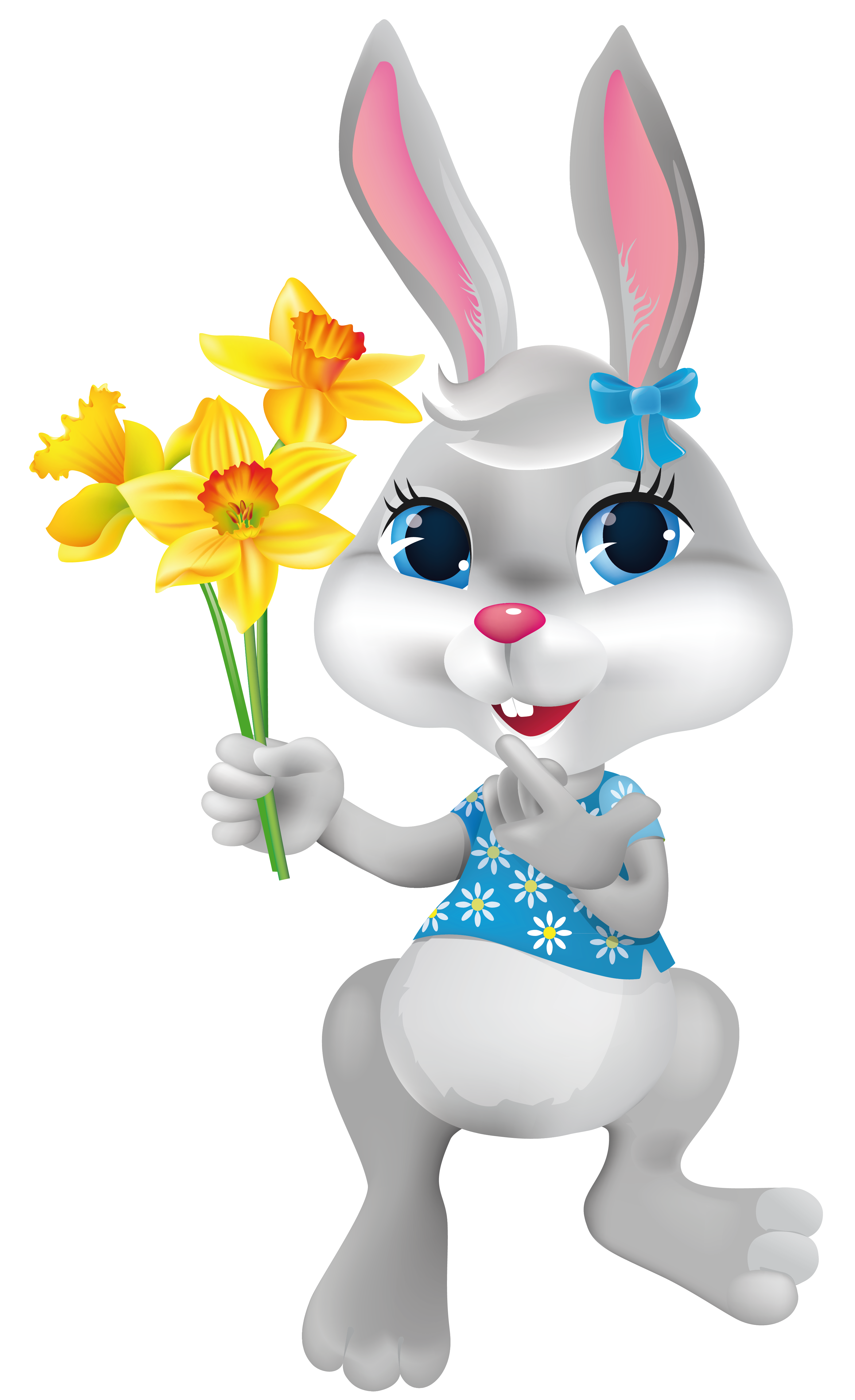 Bunny with daffodils png. German clipart easter