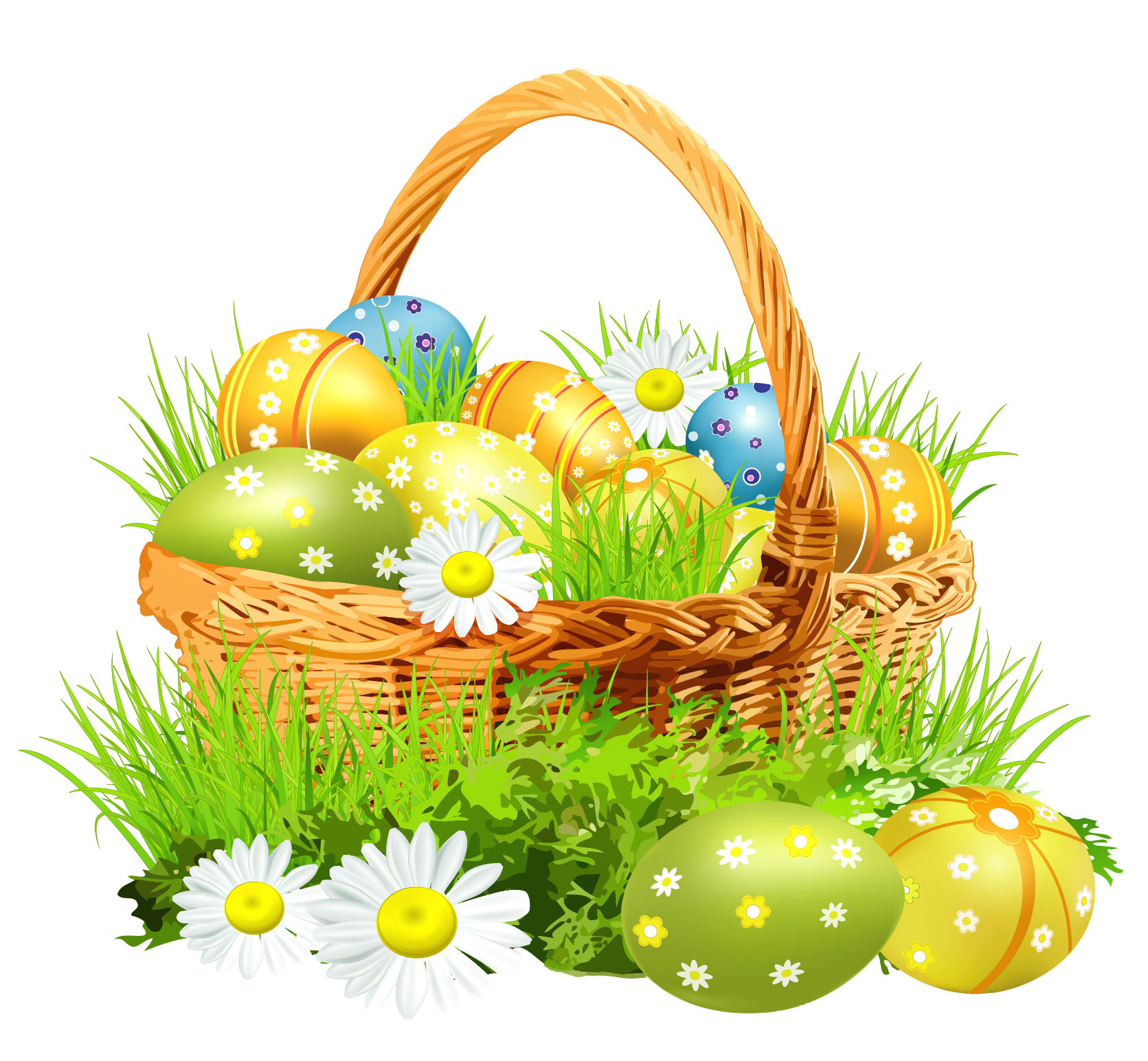 Clipart easter scene. Basket with eggsand daisies