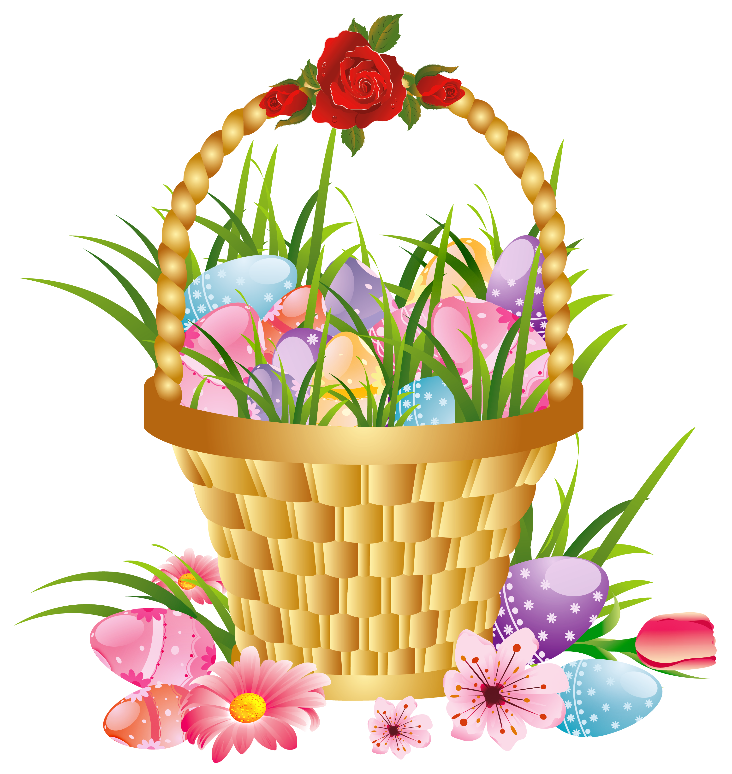 Easter basket with eggs. Raffle clipart clip art