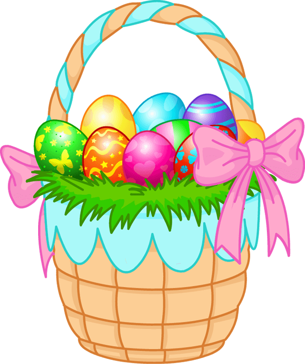 Easter eggs pink ribbon. Clipart bunny basket