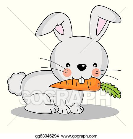 Vector illustration rabbit eating. Clipart bunny carrot