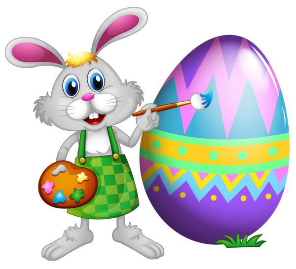 Holiday clipart easter. Bunny and colored egg