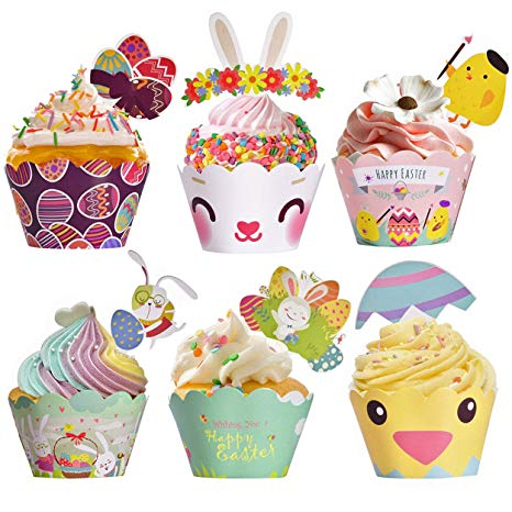 Cupcake clipart bunny. Easter wrappers toppers liners