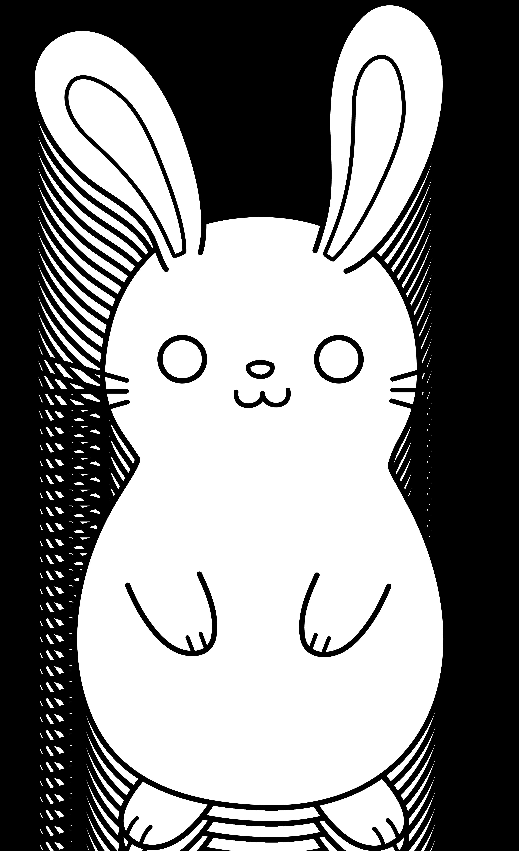 Cute colorable easter bunny. Clipart rabbit line art