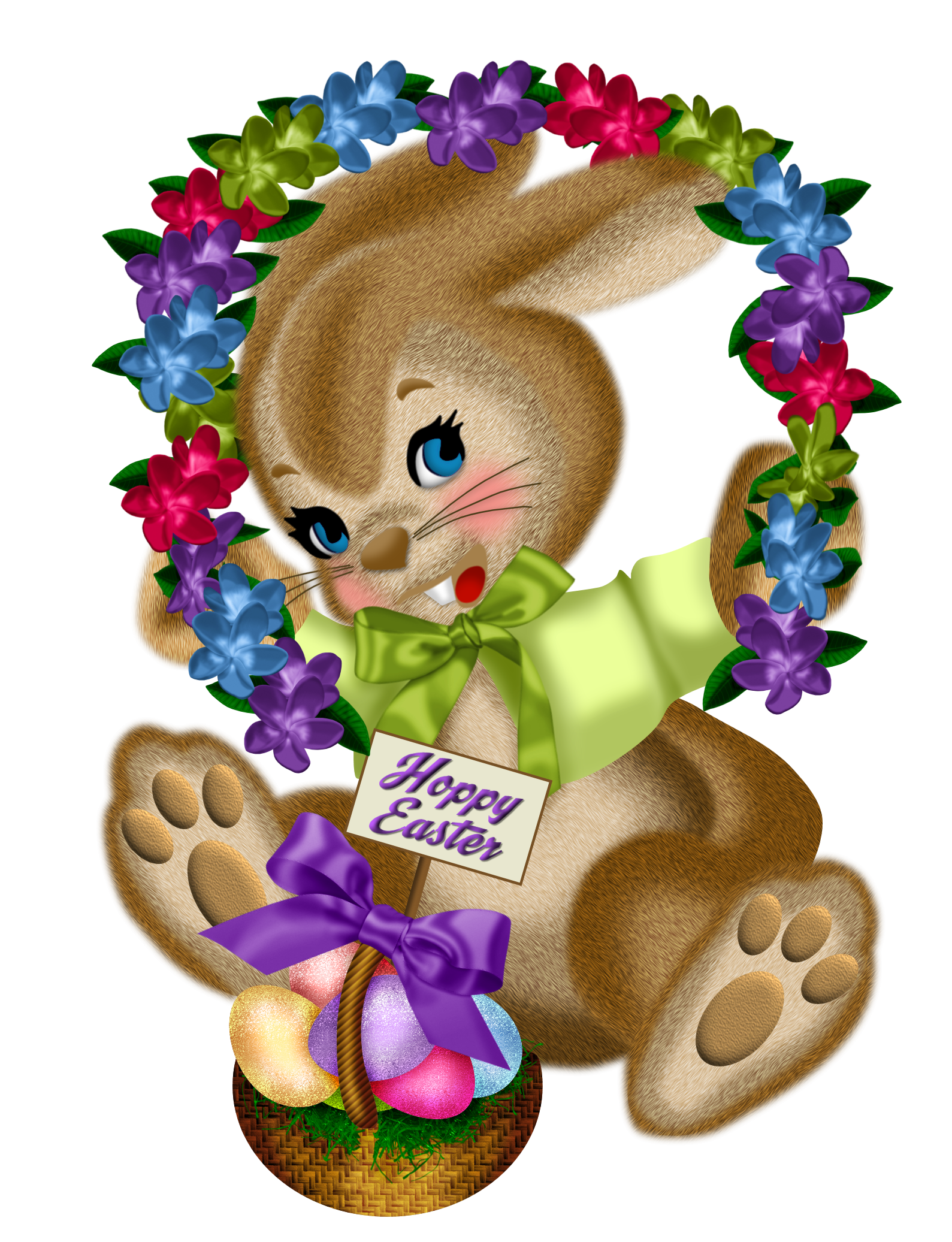 Hops clipart wreath. Happy easter bunny with