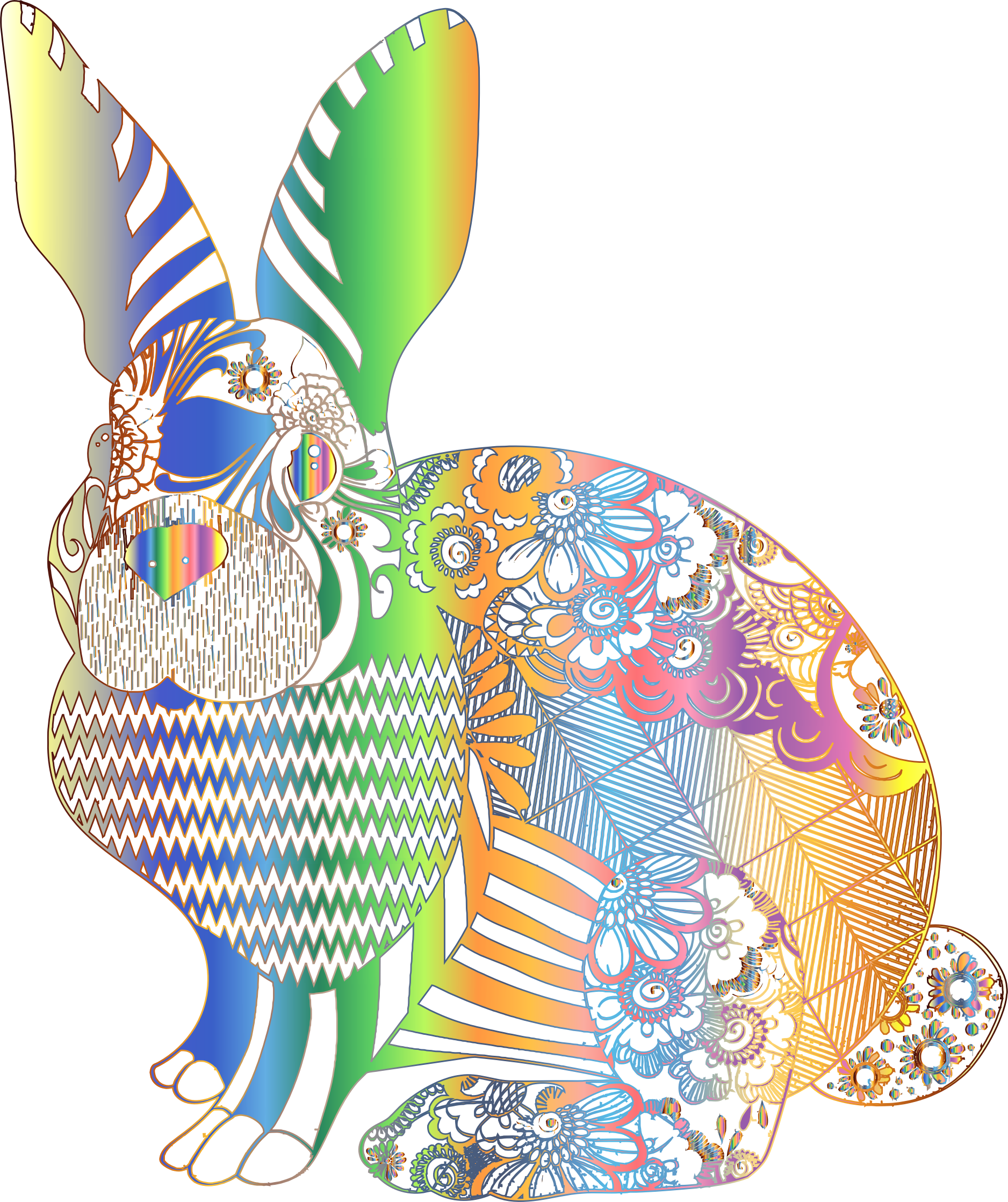 Clipart rainbow rabbit. Chromatic floral no background