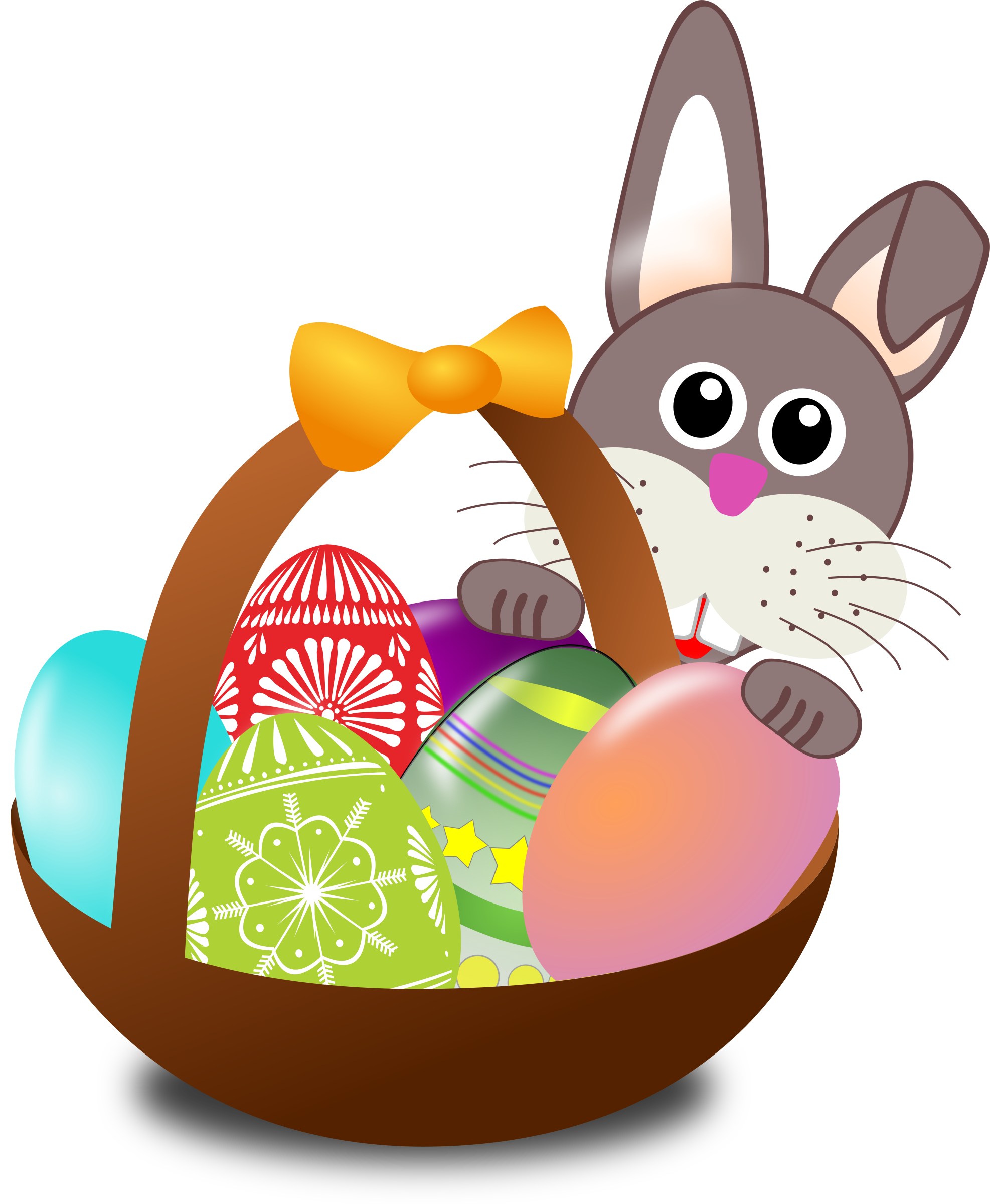 Funny face with easter. Clipart bunny food