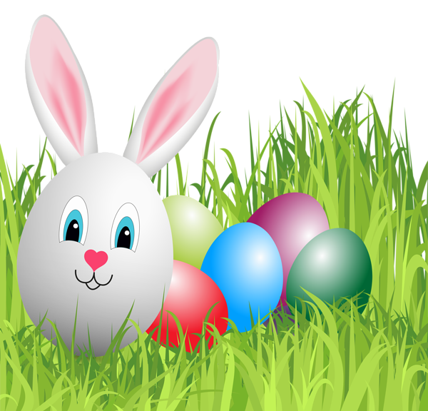 Easter Grass with Bunny Egg PNG Clipart Image