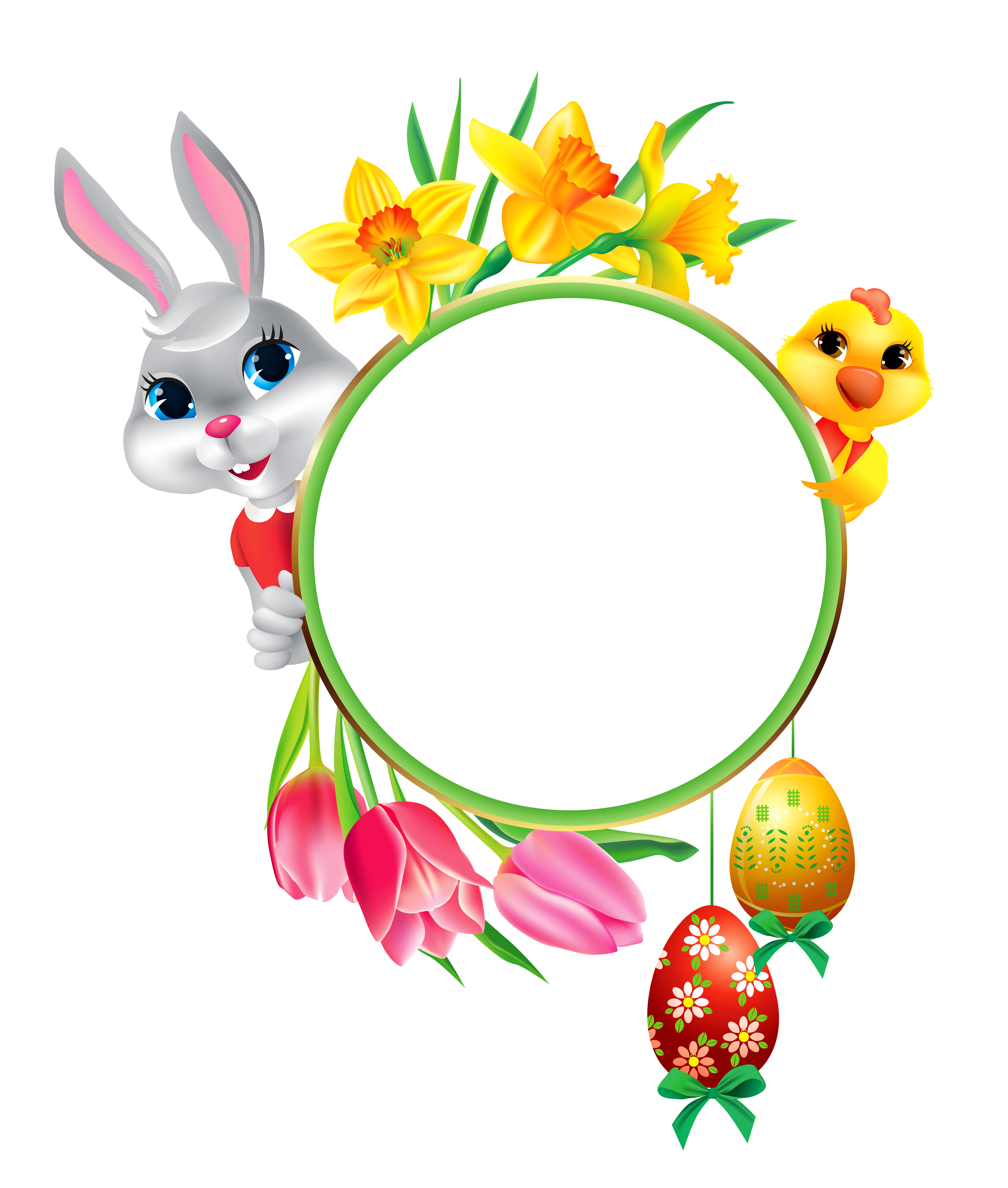 Easter and chicken with. Clipart bunny frame