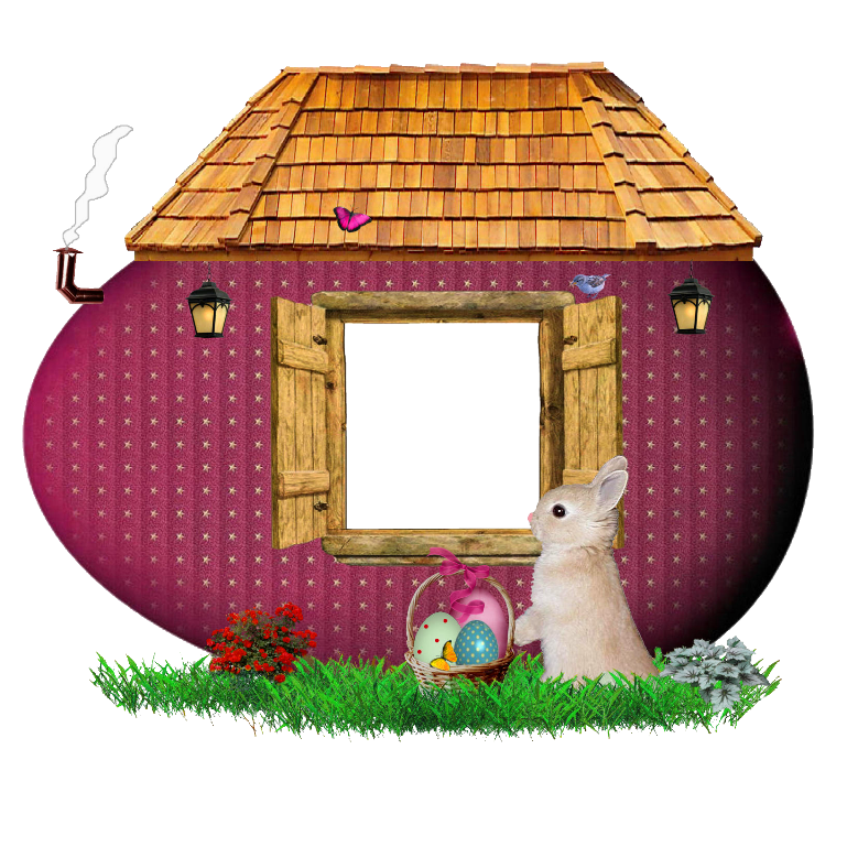 Easter bunny house frame. Houses clipart snowing