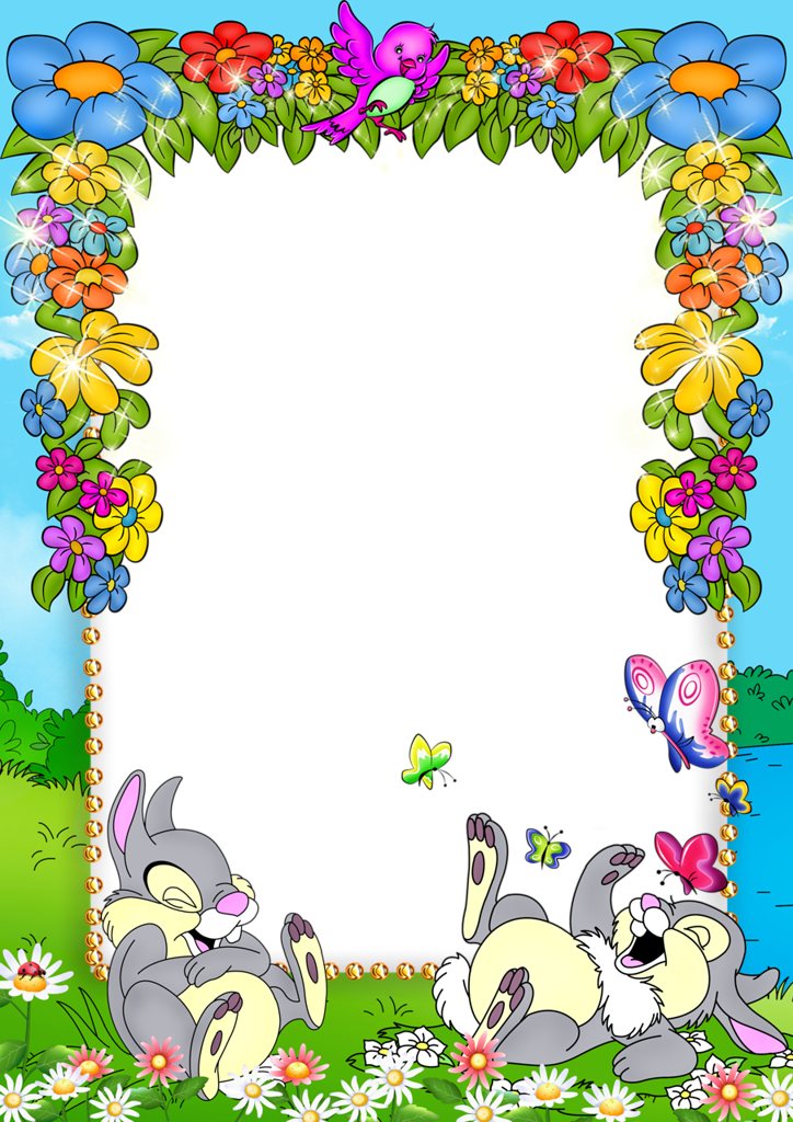 Clipart bunny frame. Cute blue kids png