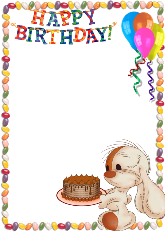 Clipart bunny frame. Happy birthday kids transparent