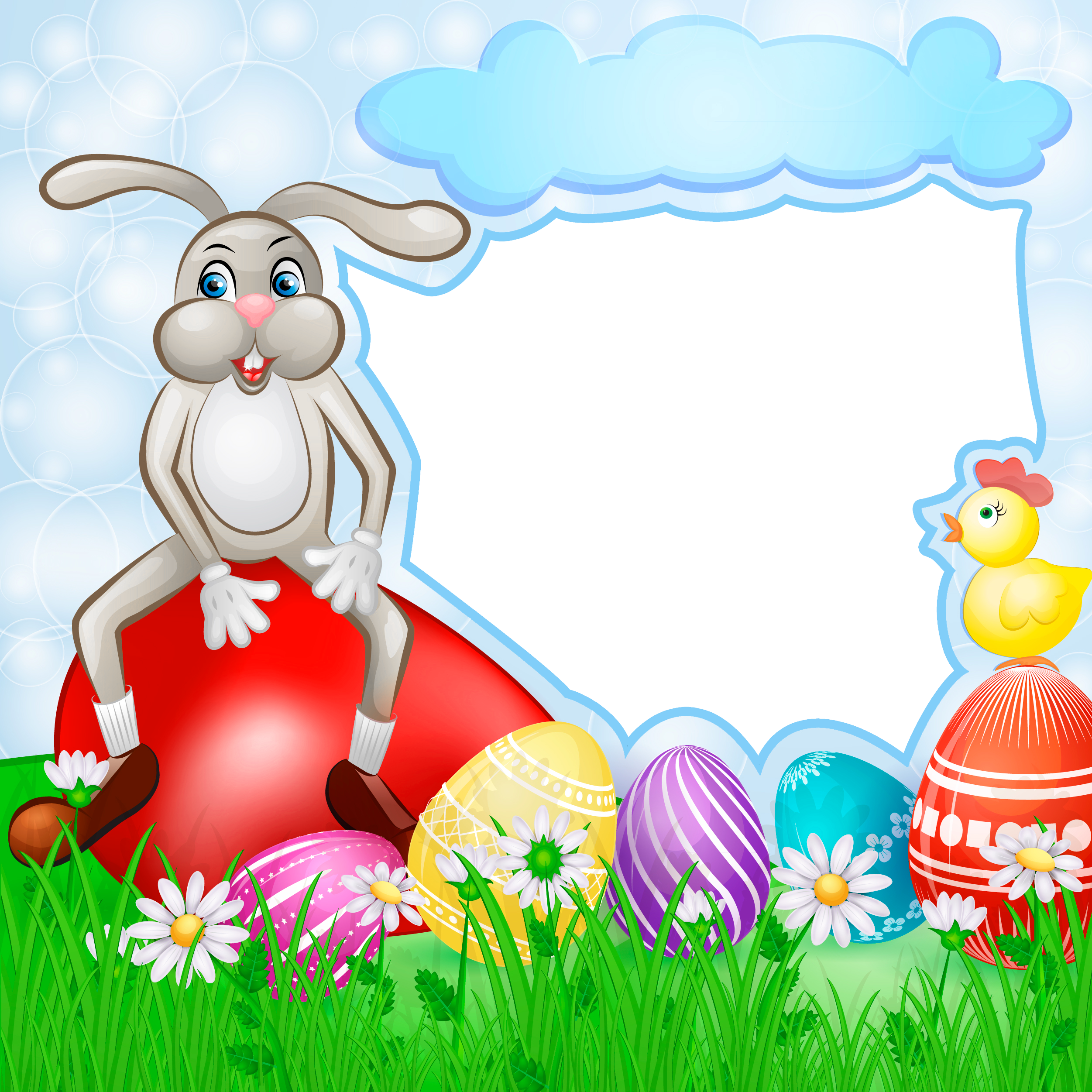 Transparent easter with gallery. Clipart bunny frame