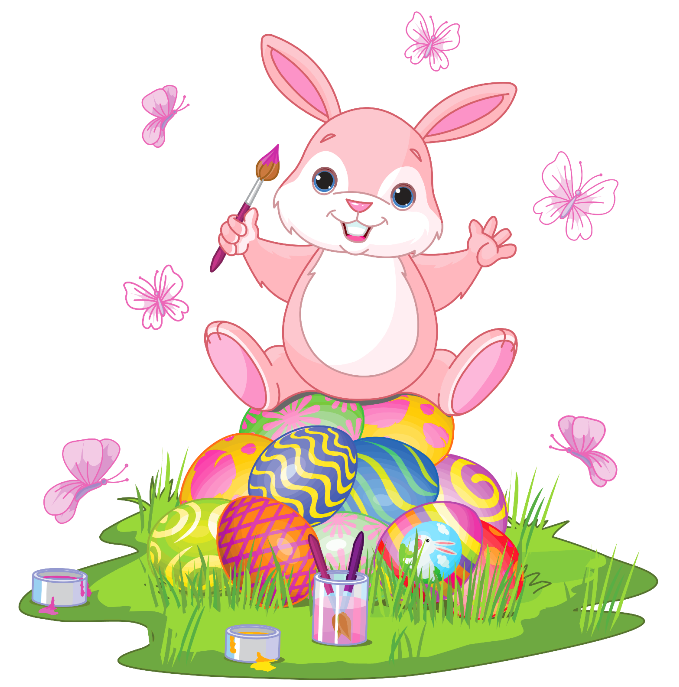 Cool clipart easter bunny. With eggs and grass