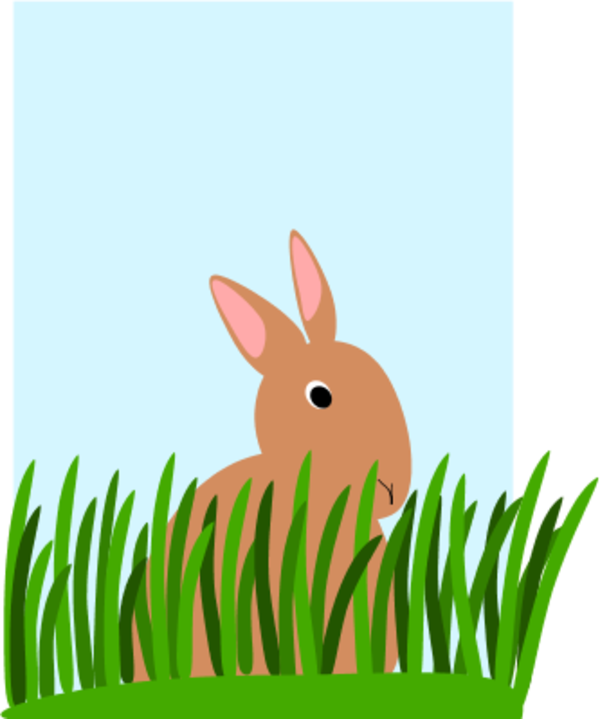 Bunny in grass clipart