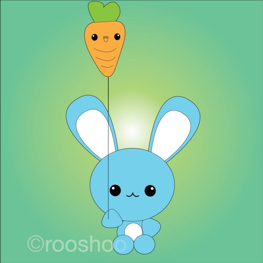 Blue with carrot balloon. Clipart bunny kawaii