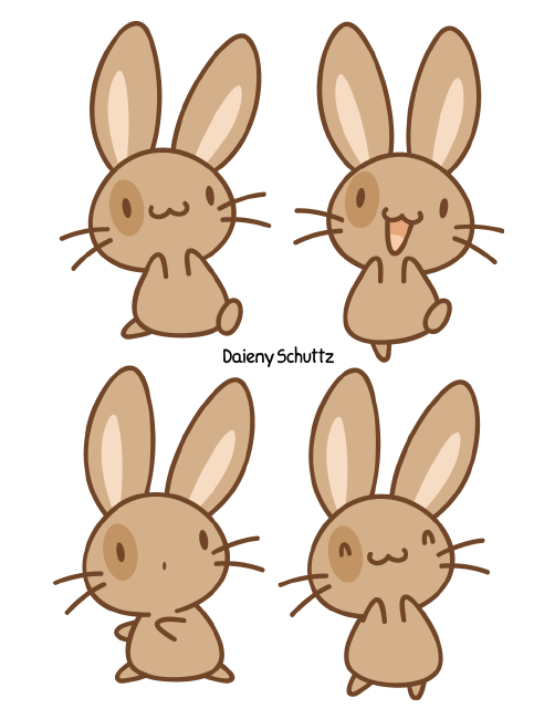 Clipart bunny kawaii. Brown by daieny on
