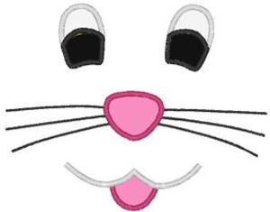 Easter face smile embroidery. Clipart bunny nose