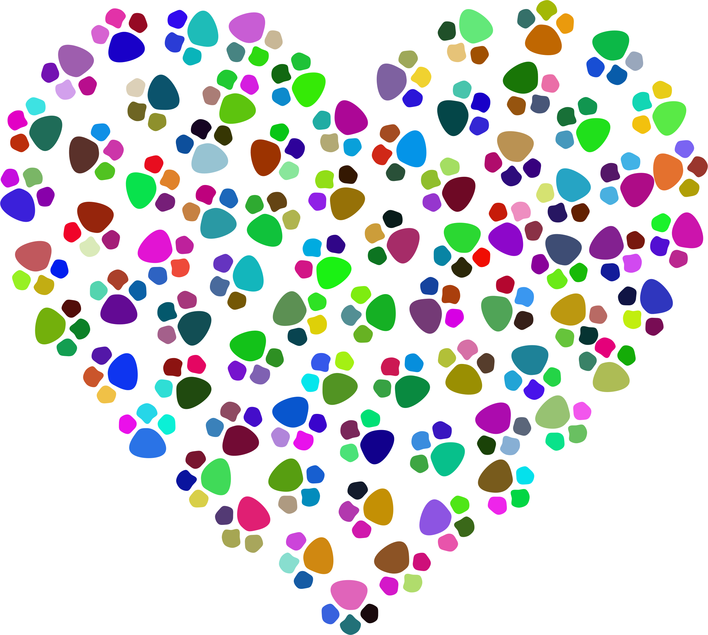 Prismatic prints heart big. Paw clipart clear background