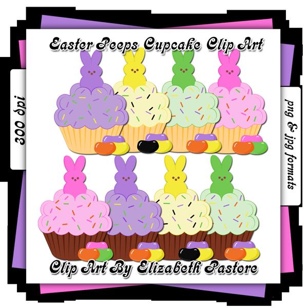 Clipart bunny peep. Easter peeps cupcake clip