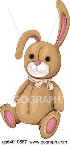 Vector plush illustration . Clipart bunny toy