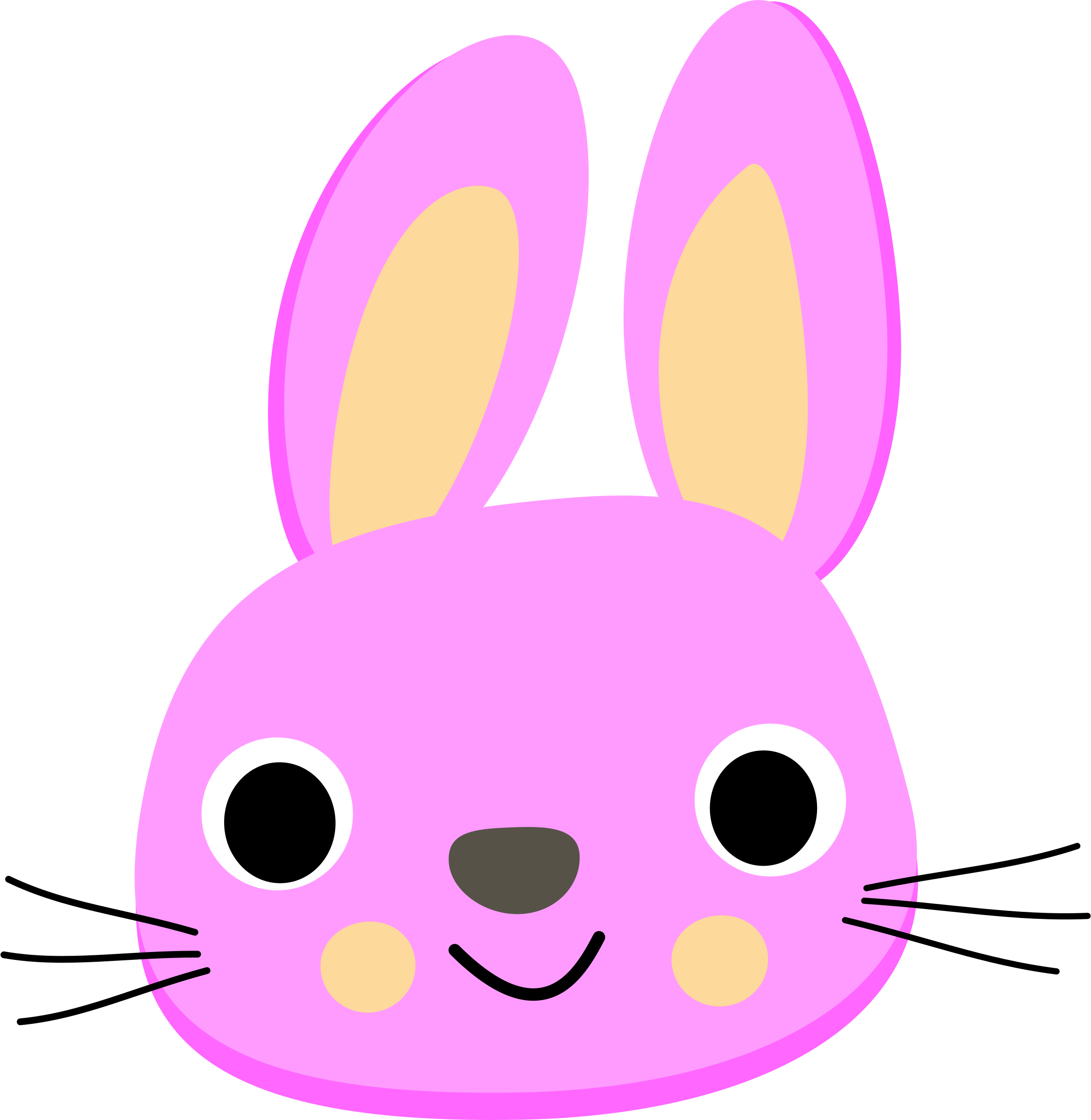 collection of pink. Faces clipart cute bunny