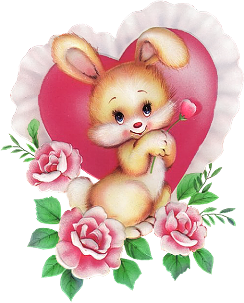 Clipart bunny valentine. With pink heart png
