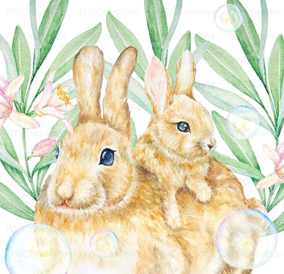 Clipart bunny wild rabbit. Mom and baby hand