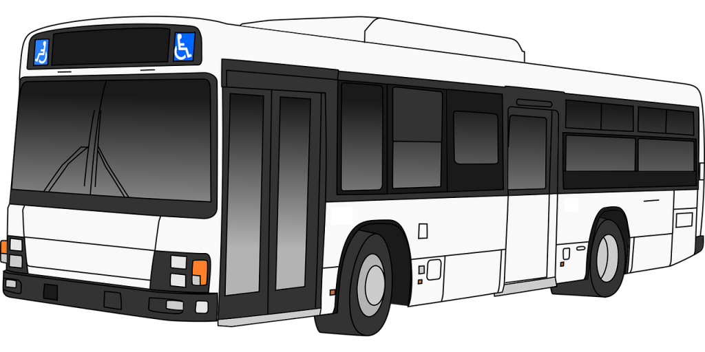 The stops here silhouette. Driver clipart riding city bus