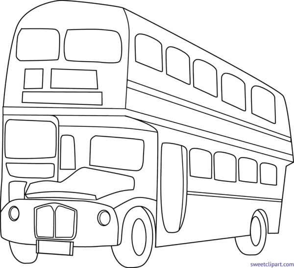 Sweet clip art page. Coloring clipart bus