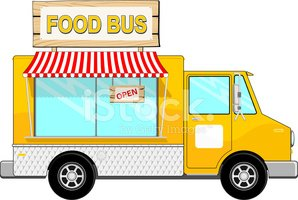 With awning stock vectors. Clipart bus food