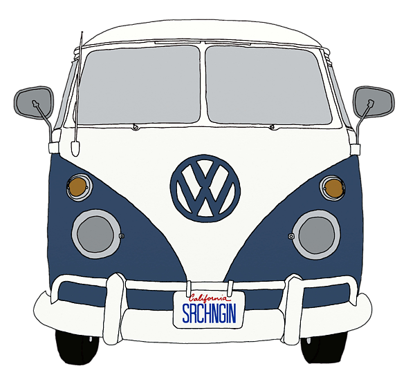 Minivan clipart mini bus. Vw front end blue