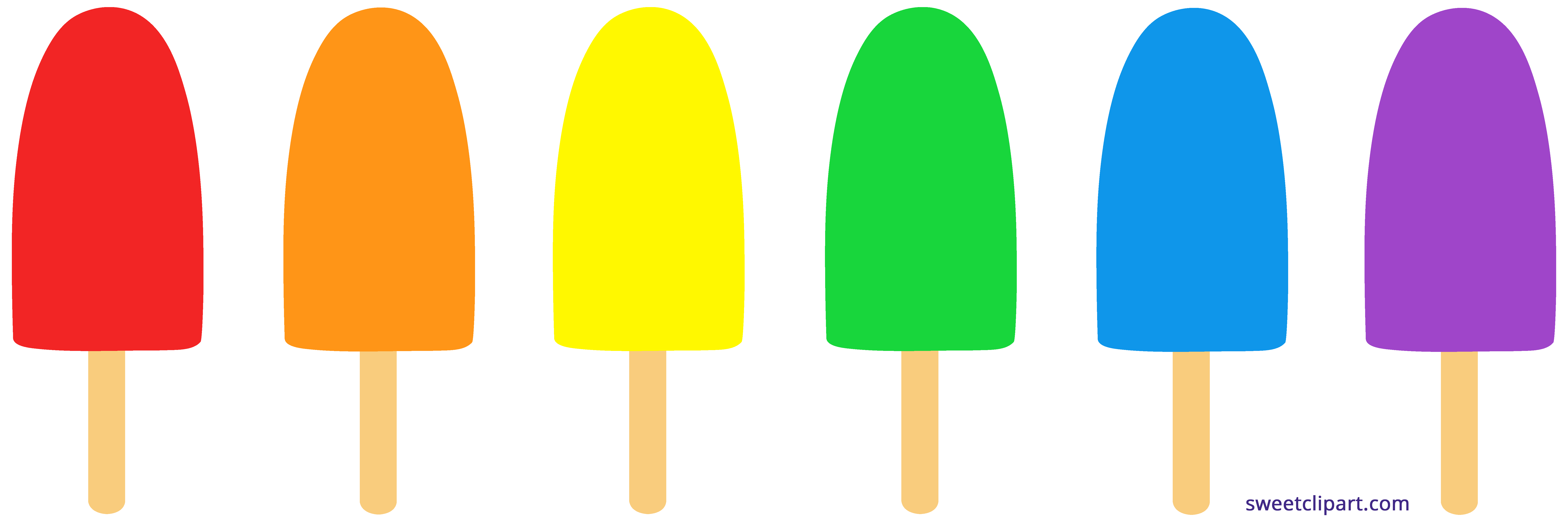 Clipart food simple. Rainbow popsicles sweet clip