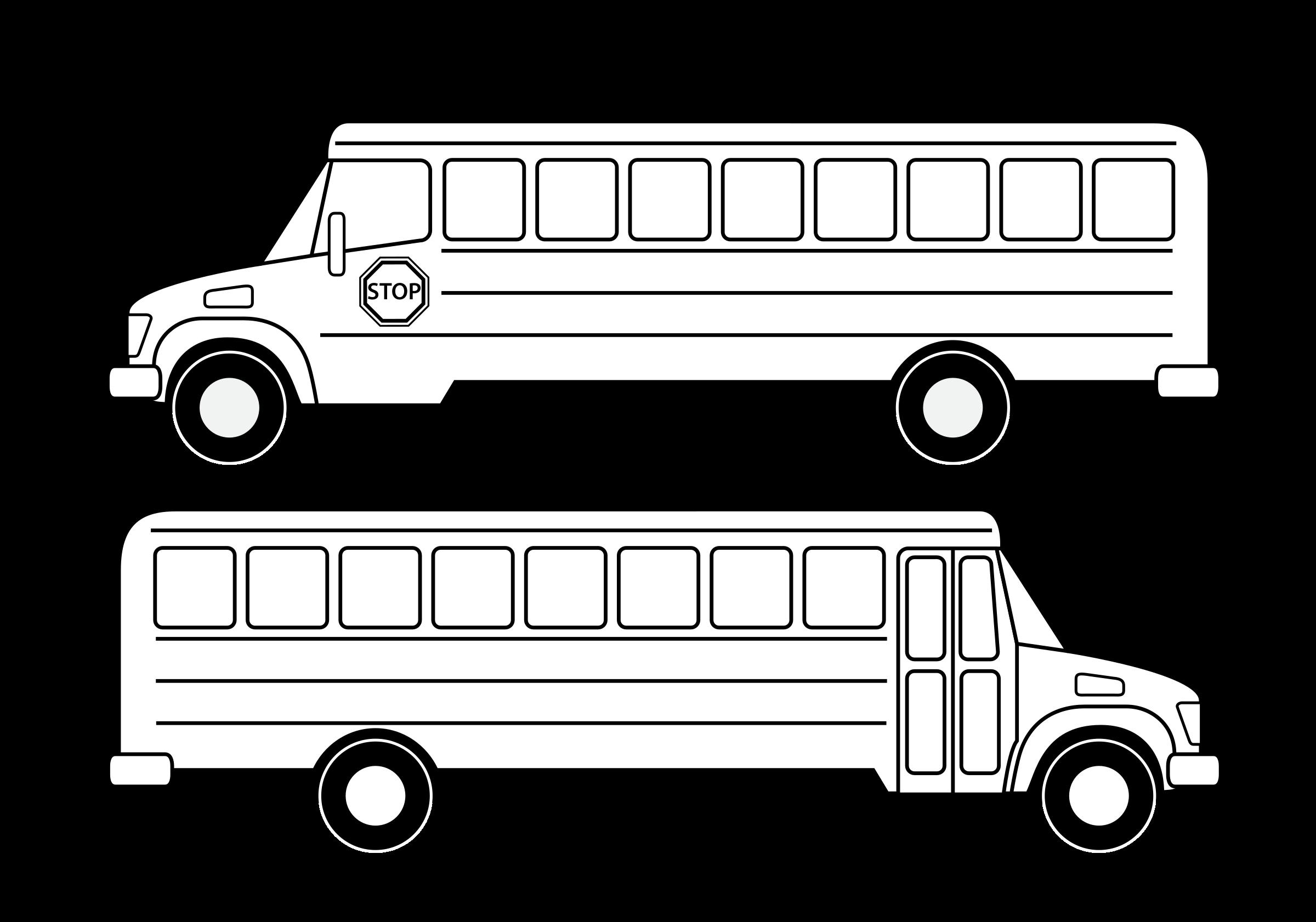 Deux scolaires noirs big. Coloring clipart bus