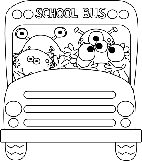 Clipart bus monster. Black and white school