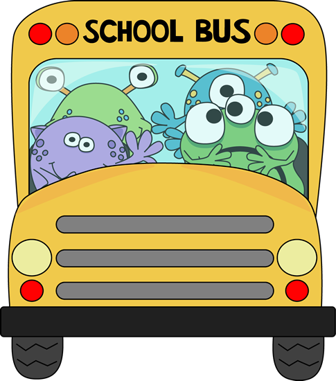Monsters on a school. Clipart bus monster