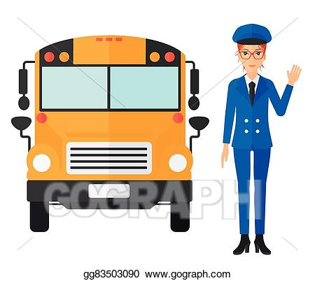 Clipart bus person. Eps vector school driver