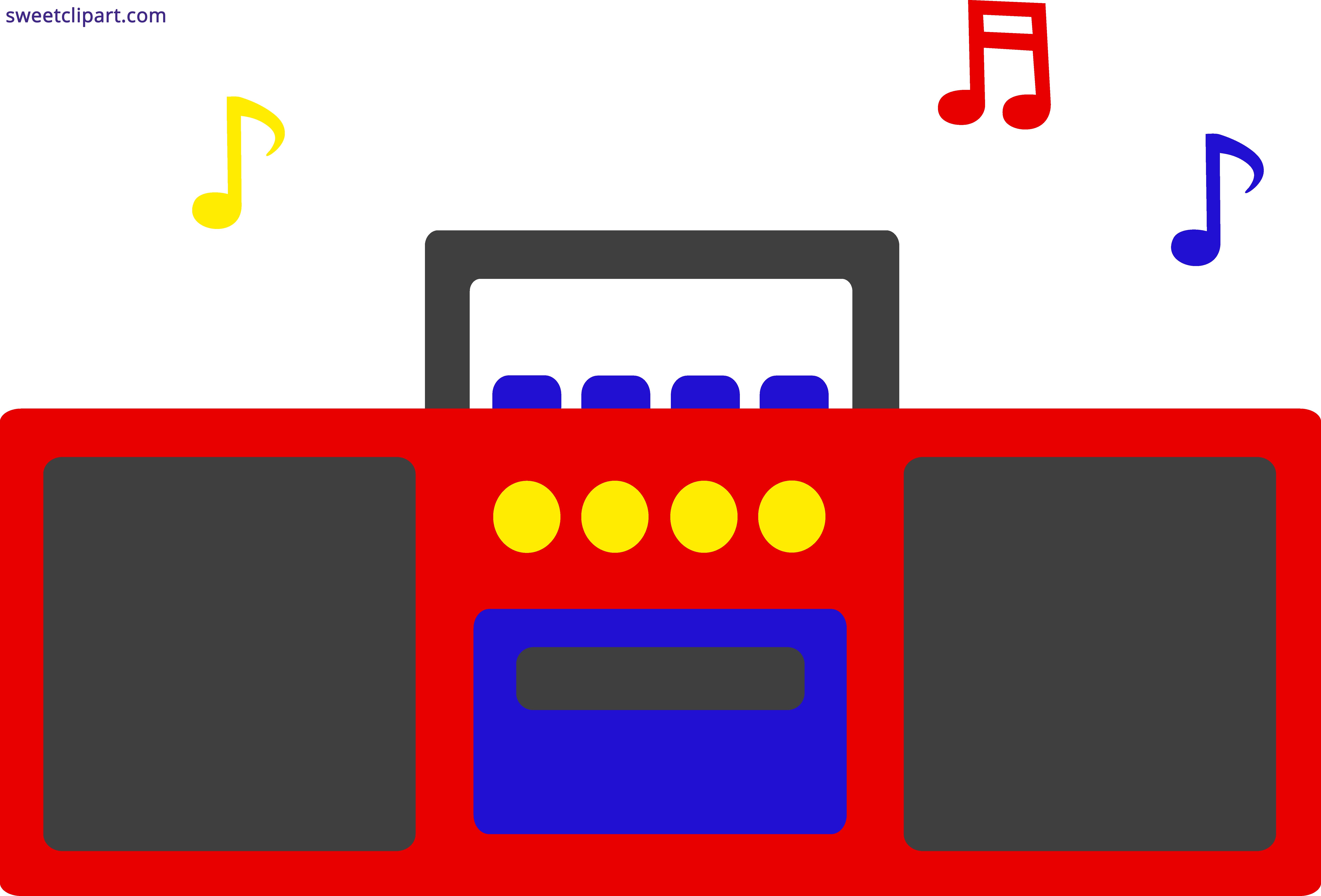 Clipart bus rectangle. Radio music notes sweet