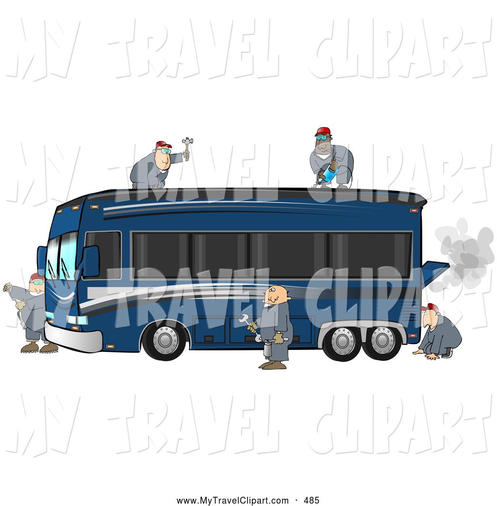 Clipart bus repair. Of experienced male mechanics