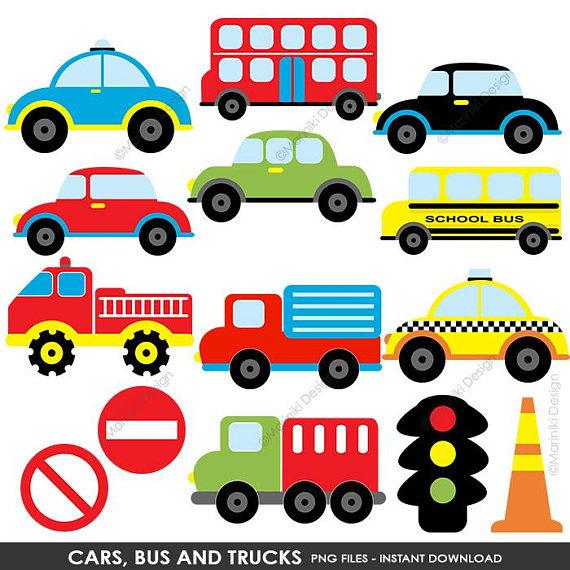 Cars bus trucks transportation. Wheel clipart transport