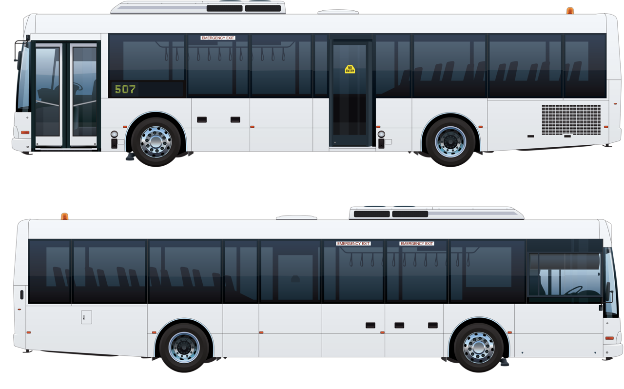 Creative bus design vector. Clipart road side view