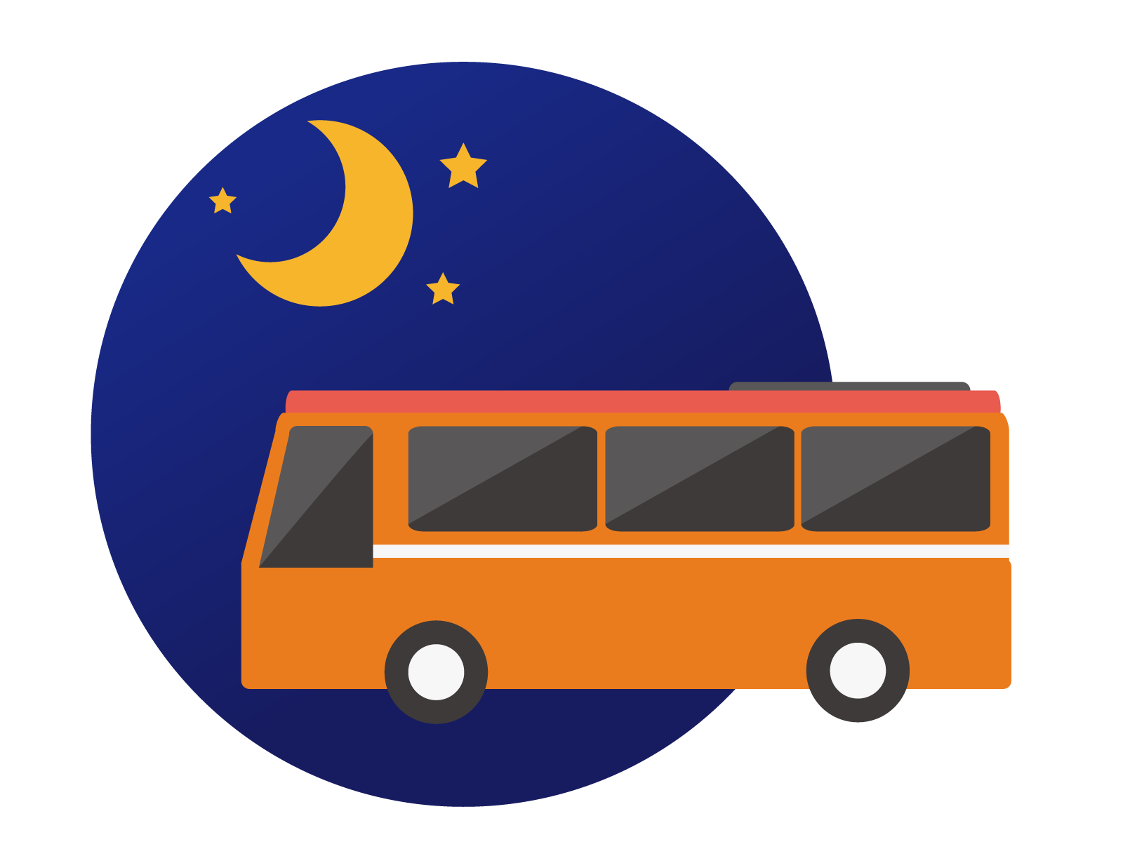 Travel by night bus. Clipart road straight road