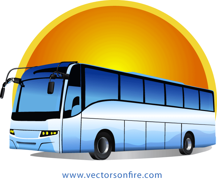 Traveling clipart charter bus. Free tour at sunrise