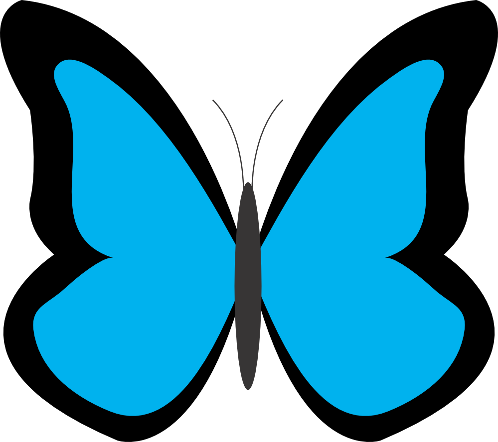 Clipart butterfly. Blue