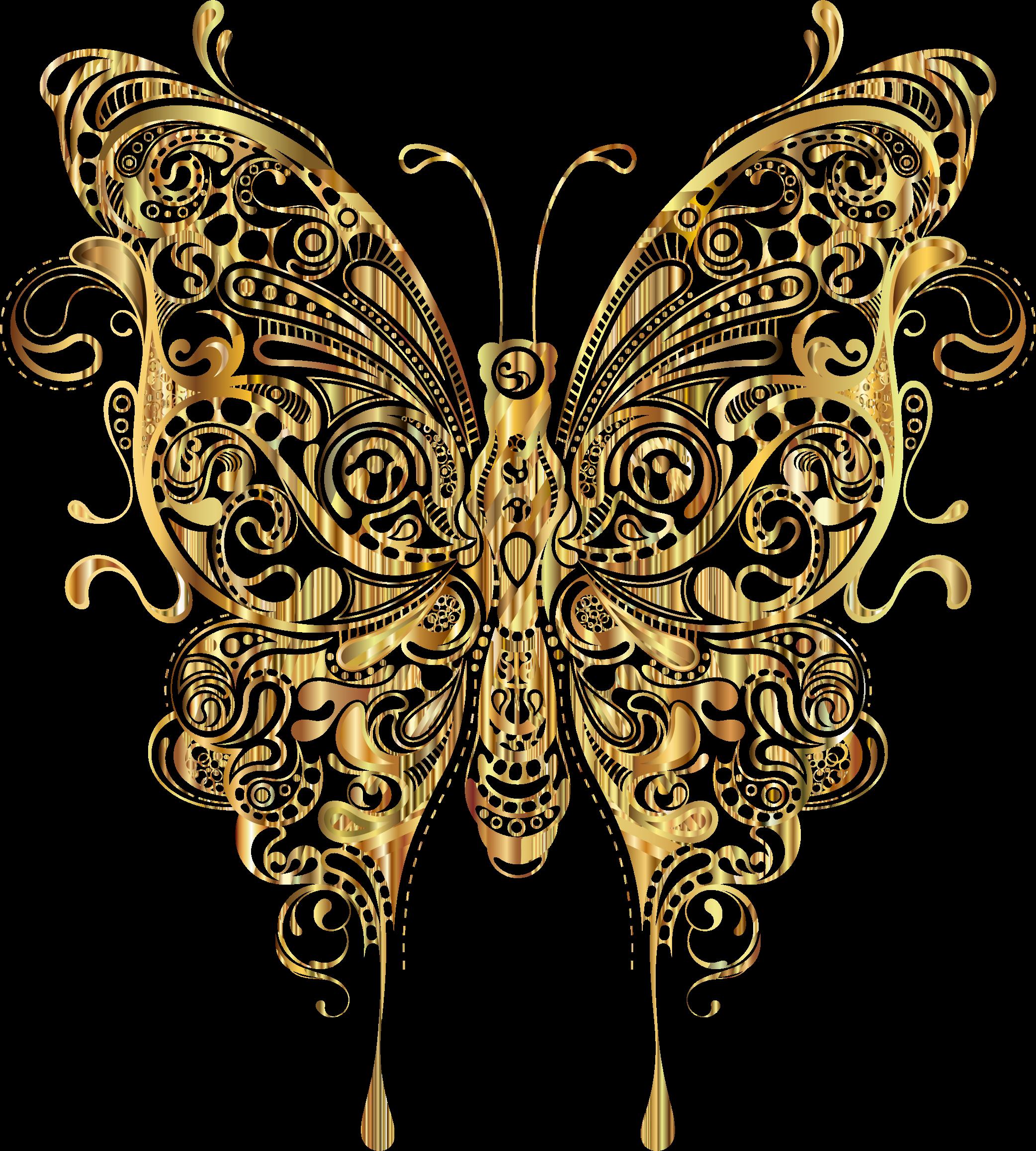 Ladder clipart golden. Abstract butterfly ii gold